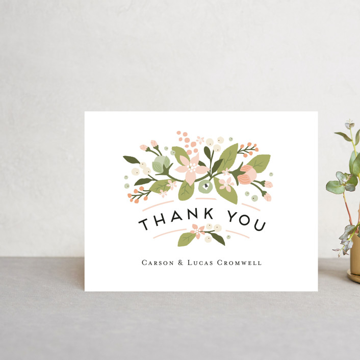 """""""Floral Ampersand"""" - Thank You Postcards in Sea Breeze by Jennifer Wick."""