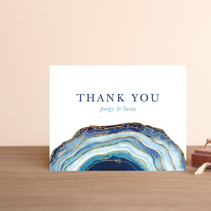 """""""Gilt Agate"""" - Bohemian, Rustic Thank You Postcards in Navy by Kaydi Bishop."""