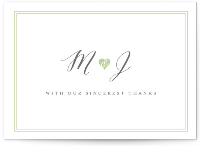 This is a bold and typographic, whimsical, green Thank You Postcards by Sarah Curry called Heartbeat with printing on Signature in Flat Card format. This invitation features the couple's names in elegant calligraphy script and a sweet heart