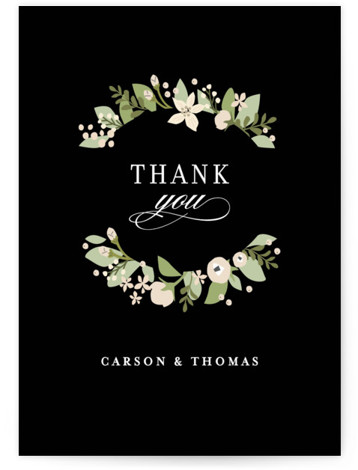 This is a botanical, black Thank You Postcards by Jennifer Wick called Longwood Estates with printing on Signature in Flat Card format. A playful mix of formal type and garden florals create a beautiful and romantic wedding invitation.