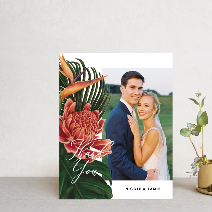 """""""Tropical Bouquet"""" - Thank You Postcards in Basil by Elly."""