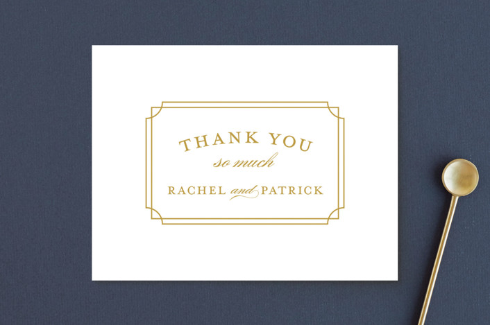 """Luxe Border"" - Thank You Postcards in Gold by Sarah Brown."