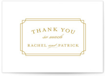 This is a yellow thank you postcard by Sarah Brown called Luxe Border printing on signature in postcard.