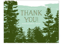 This is a green thank you postcard by Ariel Rutland called Mountain View printing on signature in postcard.