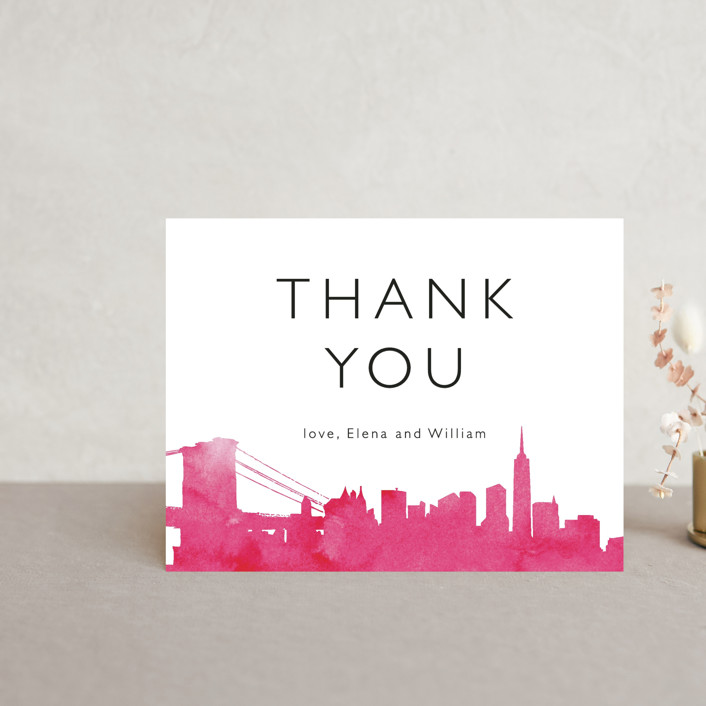 """Skyline - New York"" - Modern Thank You Postcards in Magenta by Laura Condouris."