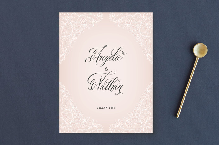 """Elegant Lace"" - Vintage Thank You Postcards in Blush by Hooray Creative."