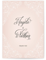 This is a pink thank you postcard by Hooray Creative called Elegant Lace printing on signature in postcard.