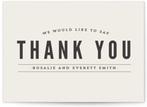 This is a brown thank you postcard by Melissa Egan of Pistols called Classic Type printing on signature in postcard.