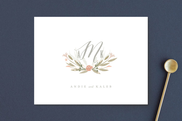 """""""Monogram Floral"""" - Thank You Postcards in Peach by Lori Wemple."""