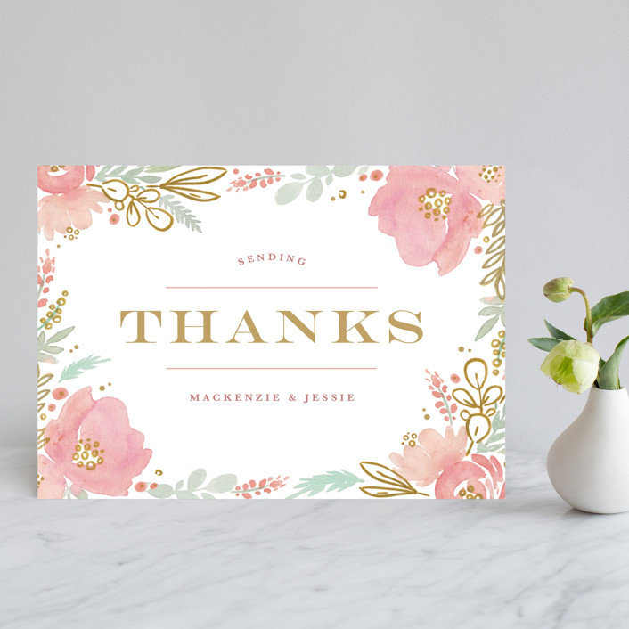 """Floral Vignette"" - Rustic Thank You Postcards in Brass by Kristen Smith."