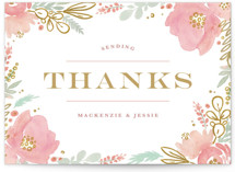 This is a colorful thank you postcard by Kristen Smith called Floral Vignette printing on signature in postcard.