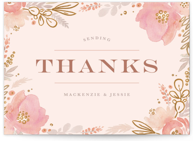 This is a botanical, rustic, colorful, pink, rosegold Thank You Postcards by Kristen Smith called Floral Vignette with printing on Signature in Flat Card format. This watercolor floral embellished save the date is perfect for a garden wedding
