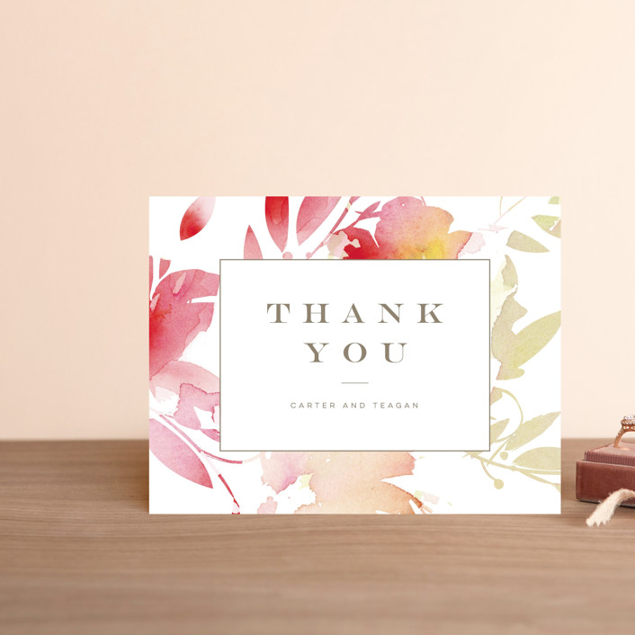 """Stately Florals"" - Thank You Postcards in Poppy by Lori Wemple."