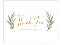 This is a yellow thank you postcard by Wildfield Paper Co. called Summer Love printing on signature in postcard.