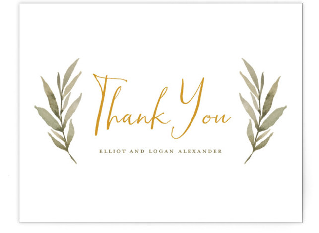 This is a botanical, rustic, yellow Thank You Postcards by Wildfield Paper Co. called Summer Love with printing on Signature in Flat Card format. Delicate and full branches come together to perfectly frame your wedding day details!