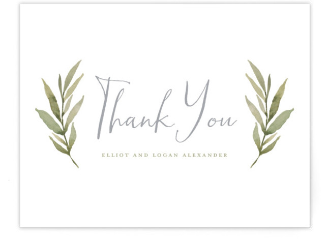 This is a botanical, rustic, blue Thank You Postcards by Wildfield Paper Co. called Summer Love with printing on Signature in Flat Card format. Delicate and full branches come together to perfectly frame your wedding day details!