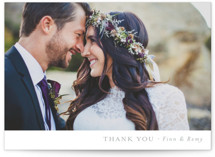 This is a grey thank you postcard by Mere Paper called On the Slopes printing on signature in postcard.