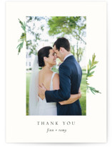 This is a white thank you postcard by Mere Paper called Simple Pine Branches printing on signature in postcard.