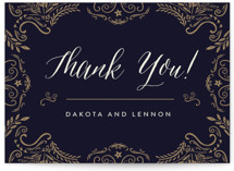 This is a blue thank you postcard by Chris Griffith called Wedding Enchantment printing on signature in postcard.