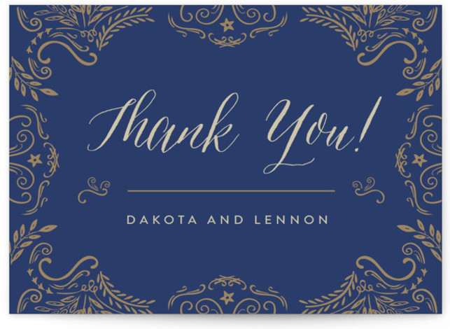 This is a vintage, blue Thank You Postcards by Chris Griffith called Wedding Enchantment with printing on Signature in Flat Card format. Elegant scrolls and swirls give a vintage feel to this traditional invitation