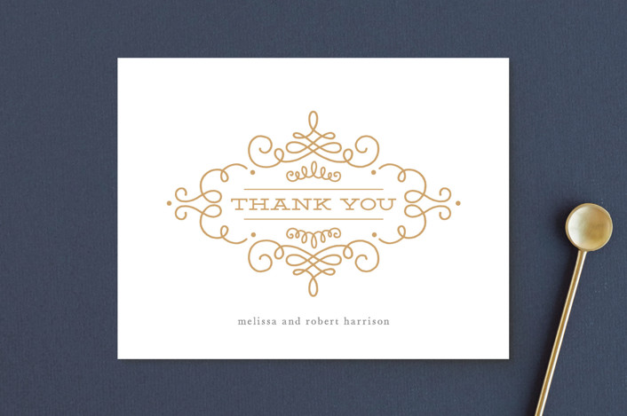 """""""Ornate Monogram"""" - Preppy Thank You Postcards in Faux Gold by Kristen Smith."""