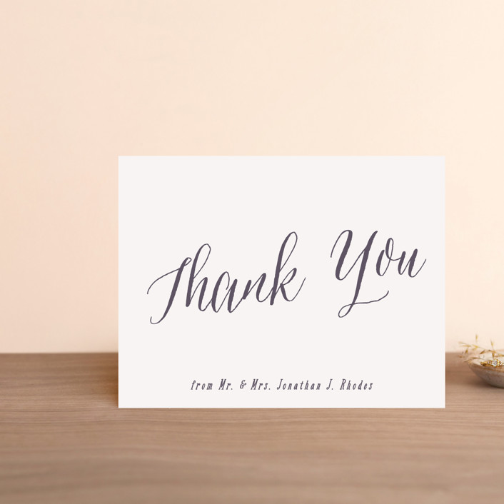 """Garden Lights"" - Rustic Thank You Postcards in Plum by Hooray Creative."