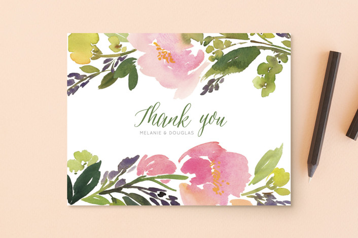 """""""Watercolor Floral"""" - Thank You Postcards in Olive by Yao Cheng Design."""