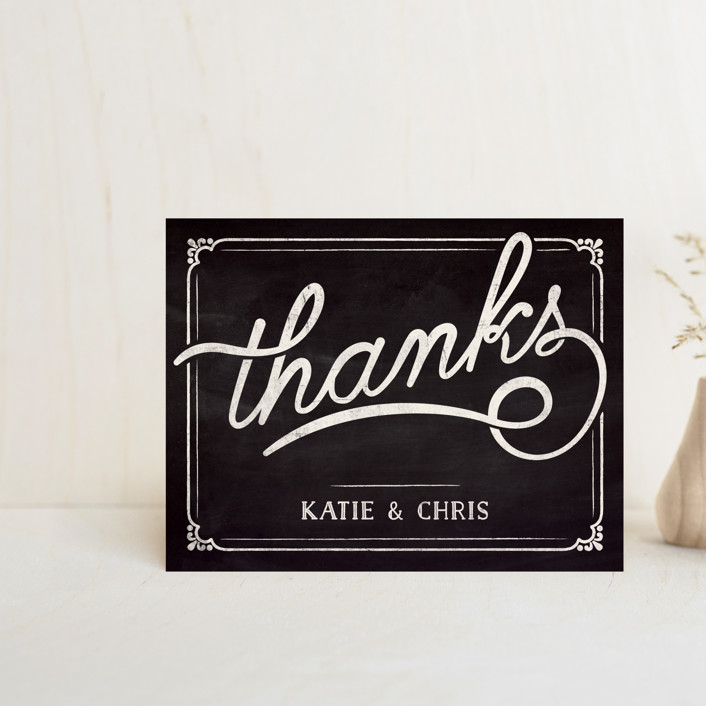 """Slated Forever"" - Rustic Thank You Postcards in Chalkboard by GeekInk Design."