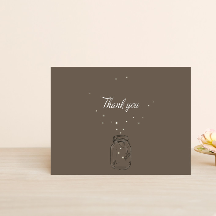 """Fireflies"" - Whimsical & Funny, Rustic Thank You Postcards in Zuni Brown by Paige Rothhaar."