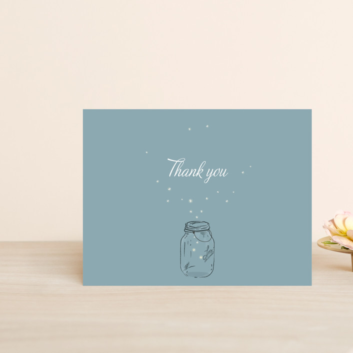 """""""Fireflies"""" - Whimsical & Funny, Rustic Thank You Postcards in Zuni Brown by Paige Rothhaar."""