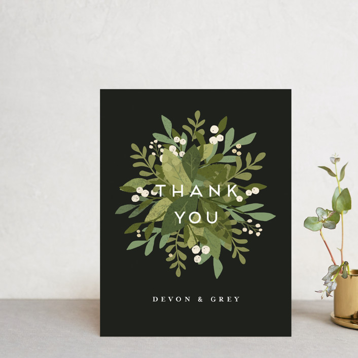 """""""Laurel of Greens"""" - Thank You Postcards in Midnight by Jennifer Wick."""