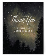 This is a grey thank you postcard by Elly called Starry, Starry Night printing on signature in postcard.