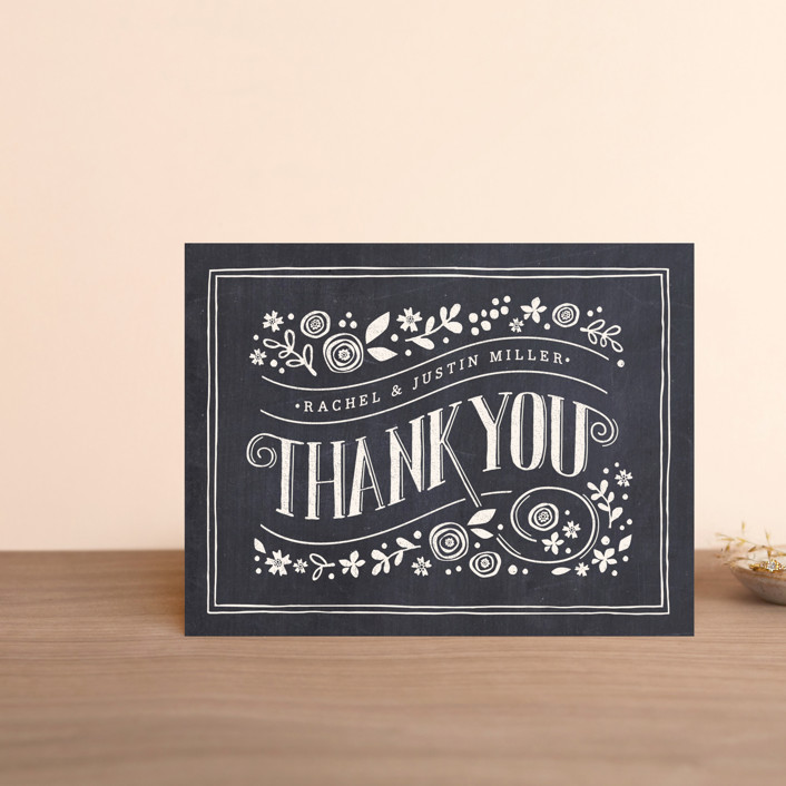 """""""Alabaster Florals"""" - Rustic Thank You Postcards in Slate by Jennifer Wick."""