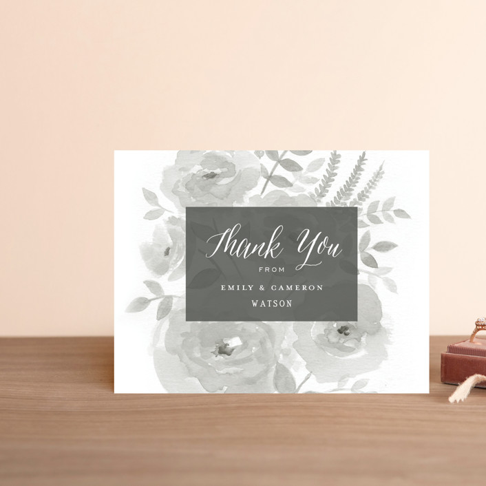 """""""Watercolor Floral"""" - Thank You Postcards in Fog by Jill Means."""