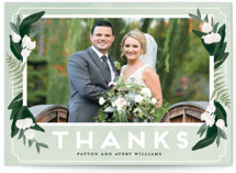 This is a green thank you postcard by Shiny Penny Studio called Botanical Name Plate printing on signature in postcard.