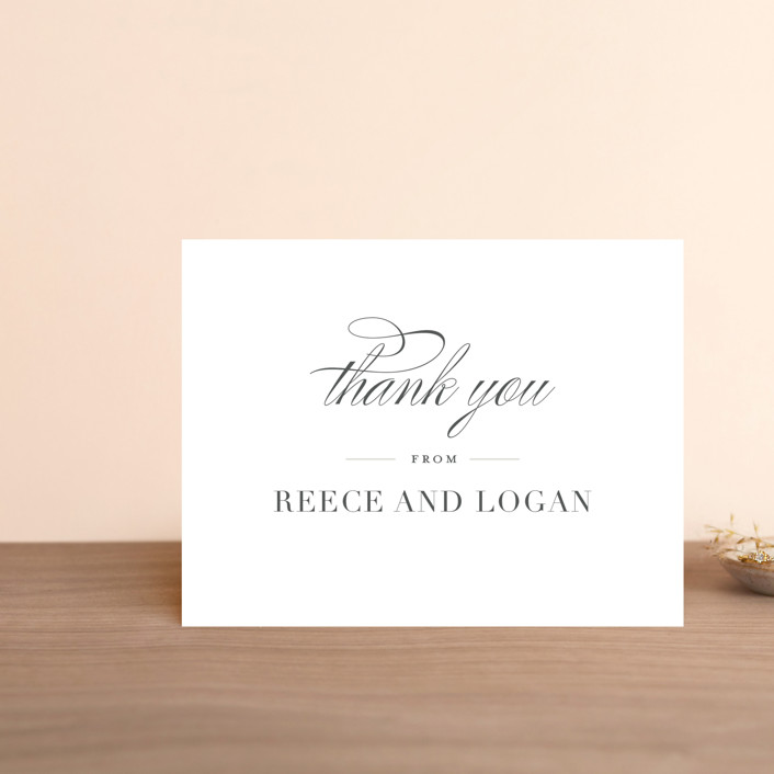"""""""Classical"""" - Thank You Postcards in Taupe by Jessica Williams."""