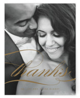 This is a brown thank you postcard by Jennifer Postorino called divine printing on signature in postcard.