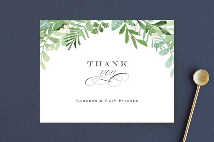 """Leafy ampersand"" - Thank You Postcards in Mint Leaf by Jennifer Wick."