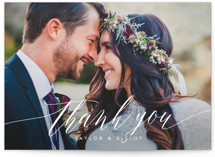 This is a pink thank you postcard by Kristie Kern called Effervescent printing on signature in postcard.