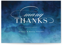 This is a blue thank you postcard by Kelly Schmidt called Indigo Sea printing on signature in postcard.