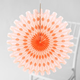 This is a orange tissue paper fan by Minted called Peach Honeycomb.
