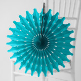 This is a blue tissue paper fan by Minted called Teal Honeycomb.