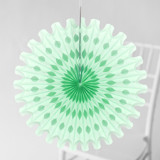 This is a green tissue paper fan by Minted called Mint Honeycomb.