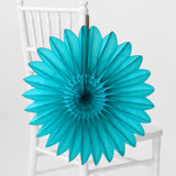This is a blue tissue paper fan by Minted called Teal Petal.