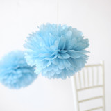 "This is a blue tissue paper pom pom by Minted called Sky Blue 14""."
