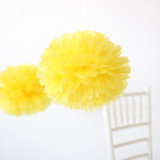 "This is a yellow tissue paper pom pom by Minted called Lemon 14""."