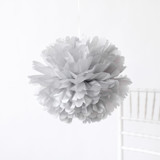 "This is a silver tissue paper pom pom by Minted called Silver 18""."