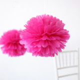 "This is a pink tissue paper pom pom by Minted called Fuchsia 14""."