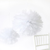 "This is a white tissue paper pom pom by Minted called White 14""."