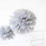 "This is a silver tissue paper pom pom by Minted called Silver 14""."